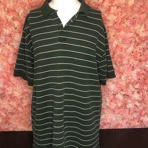 LL Bean 2XL Green and White Stripe Polo